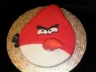"""Angry Bird Cake. Very vanilla with snowy vanilla buttercream, covered in fondant. Beak and top """"feathers"""" are rice krispie treats."""