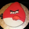 "Angry Bird Cake. Very vanilla with snowy vanilla buttercream, covered in fondant. Beak and top ""feathers"" are rice krispie treats."