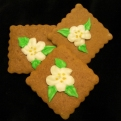 Gingerbread can be delicious at any time of year. These pretty squares are adorned with dogwood flowers.