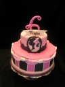 Pretty in pink fondant with red velvet and cream cheese icing.