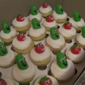 Bob and Larry from the Veggie Tales await the excitement of your little ones atop mini very vanilla cupcakes.