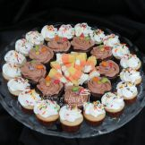 Candy corn fudge, chocolate and vanilla mini cupcakes