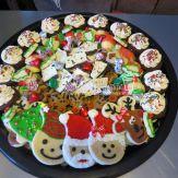 Sugar cookies, gingerbread reindeer, gingerbread mini cupcakes and peppermint bark