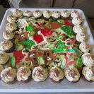 Sugar cookies, gingerbread mini cupcakes and peppermint bark