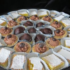 Cream puffs, mocha mousse tarts and lemon bars