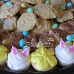 Vanilla mini cupcakes, mini egg cookies and salted caramel bars