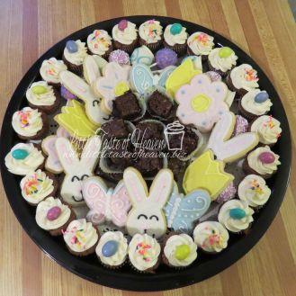 Sugar cookies, carrot mini cupcakes, brownies and cake pops