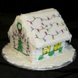 Back of painted gingerbread house