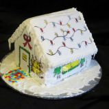 Front of painted gingerbread house
