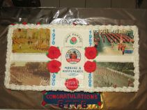 Special send-off cake for Tournament of Roses band.