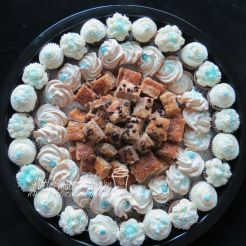 Gingerbread mini cupcakes, meringues, salted caramel bars and chocolate chip cake