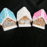 Sparkly roofs on these gingerbread houses