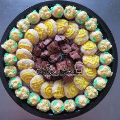 Lemon mini cupcakes, lemon cookies, chocolate brownies