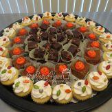 S'mores fudge, pumpkin cake, vanilla mini cupcakes