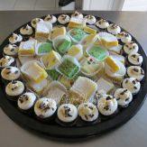 Mint and white cholate fudge, lemon bars, chocolate s'mores mini cupcakes