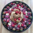 Sugar cookies, chocolate dipped strawberries, cinnamon sugar donuts